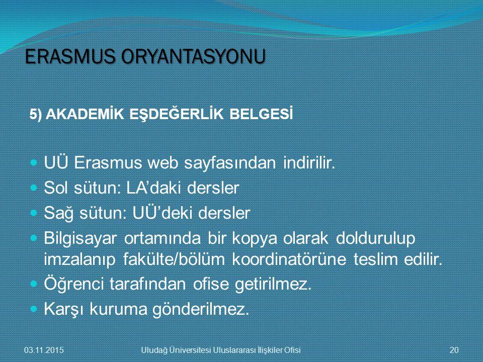 5) AKADEMİK EŞDEĞERLİK BELGESİ UÜ Erasmus web sayfasından indirilir. Sol sütun: LA'daki dersler Sağ sütun: UÜ'deki dersler Bilgisayar ortamında bir ko