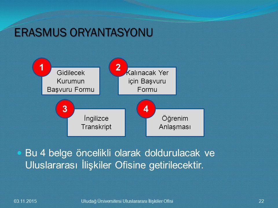 Bu 4 belge öncelikli olarak doldurulacak ve Uluslararası İlişkiler Ofisine getirilecektir. Gidilecek Kurumun Başvuru Formu İngilizce Transkript Öğreni
