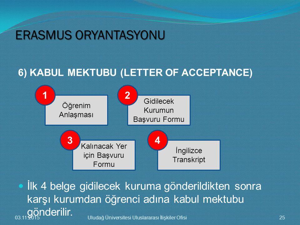 İlk 4 belge gidilecek kuruma gönderildikten sonra karşı kurumdan öğrenci adına kabul mektubu gönderilir. Öğrenim Anlaşması Kalınacak Yer için Başvuru