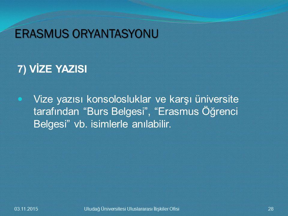 """7) VİZE YAZISI Vize yazısı konsolosluklar ve karşı üniversite tarafından """"Burs Belgesi"""", """"Erasmus Öğrenci Belgesi"""" vb. isimlerle anılabilir. ERASMUS O"""