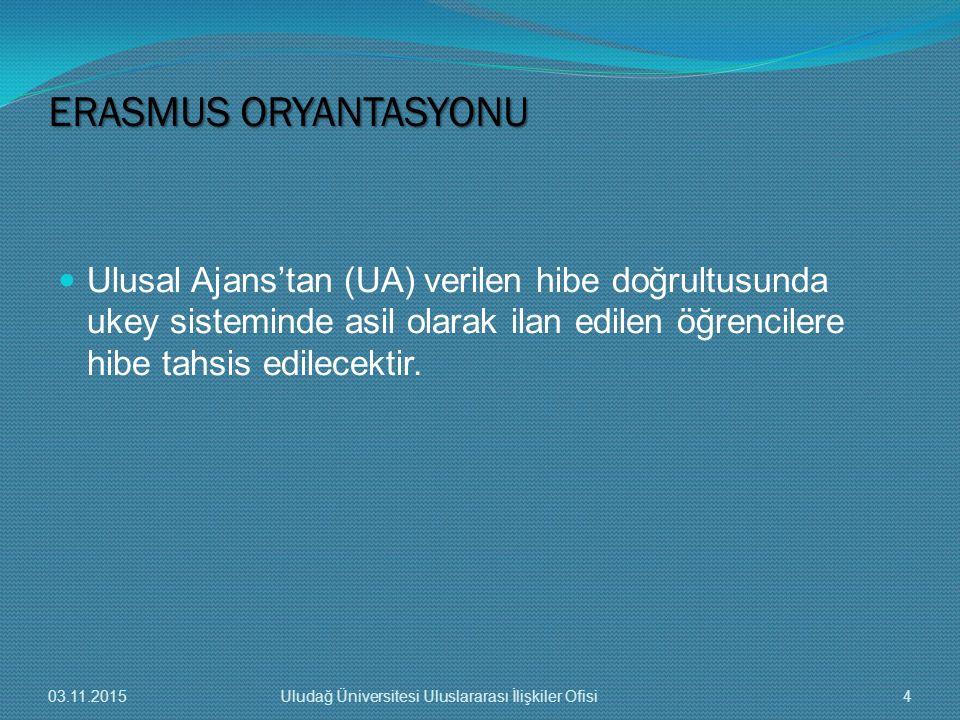 Ulusal Ajans'tan (UA) verilen hibe doğrultusunda ukey sisteminde asil olarak ilan edilen öğrencilere hibe tahsis edilecektir. ERASMUS ORYANTASYONU 03.