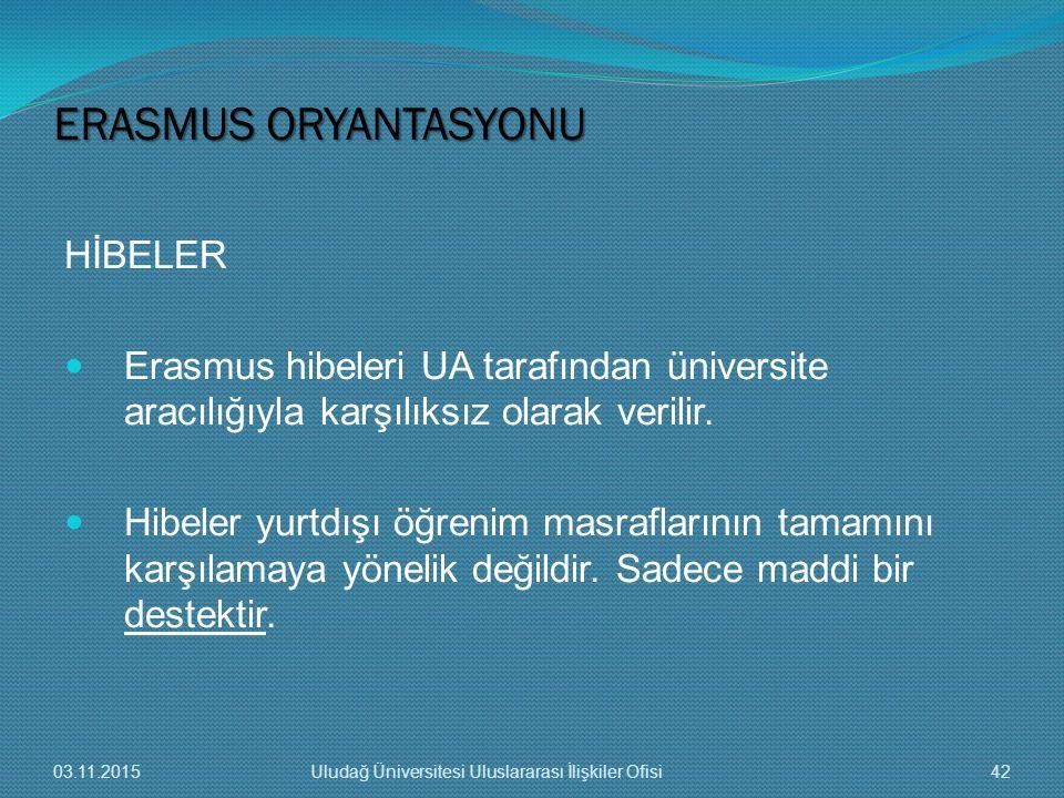 HİBELER Erasmus hibeleri UA tarafından üniversite aracılığıyla karşılıksız olarak verilir. Hibeler yurtdışı öğrenim masraflarının tamamını karşılamaya