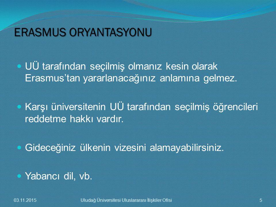 UÜ tarafından seçilmiş olmanız kesin olarak Erasmus'tan yararlanacağınız anlamına gelmez. Karşı üniversitenin UÜ tarafından seçilmiş öğrencileri redde