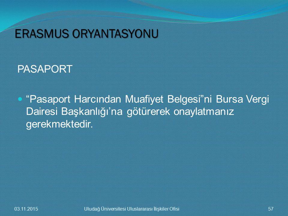 """PASAPORT """"Pasaport Harcından Muafiyet Belgesi""""ni Bursa Vergi Dairesi Başkanlığı'na götürerek onaylatmanız gerekmektedir. ERASMUS ORYANTASYONU 03.11.20"""