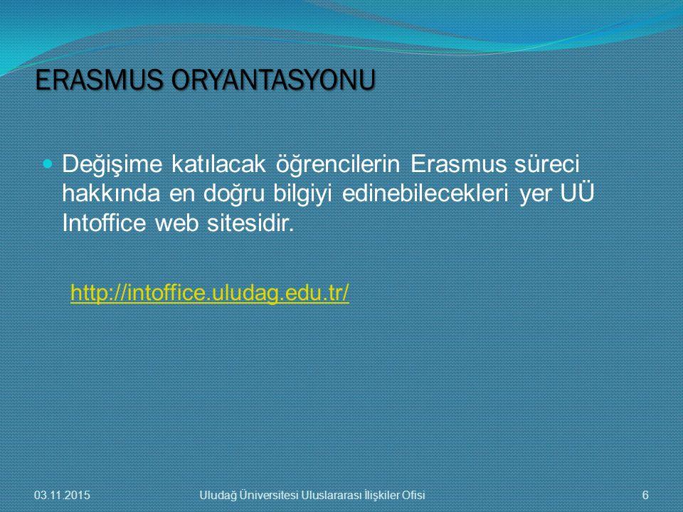 Değişime katılacak öğrencilerin Erasmus süreci hakkında en doğru bilgiyi edinebilecekleri yer UÜ Intoffice web sitesidir. http://intoffice.uludag.edu.
