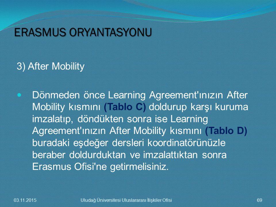 3) After Mobility Dönmeden önce Learning Agreement'ınızın After Mobility kısmını (Tablo C) doldurup karşı kuruma imzalatıp, döndükten sonra ise Learni