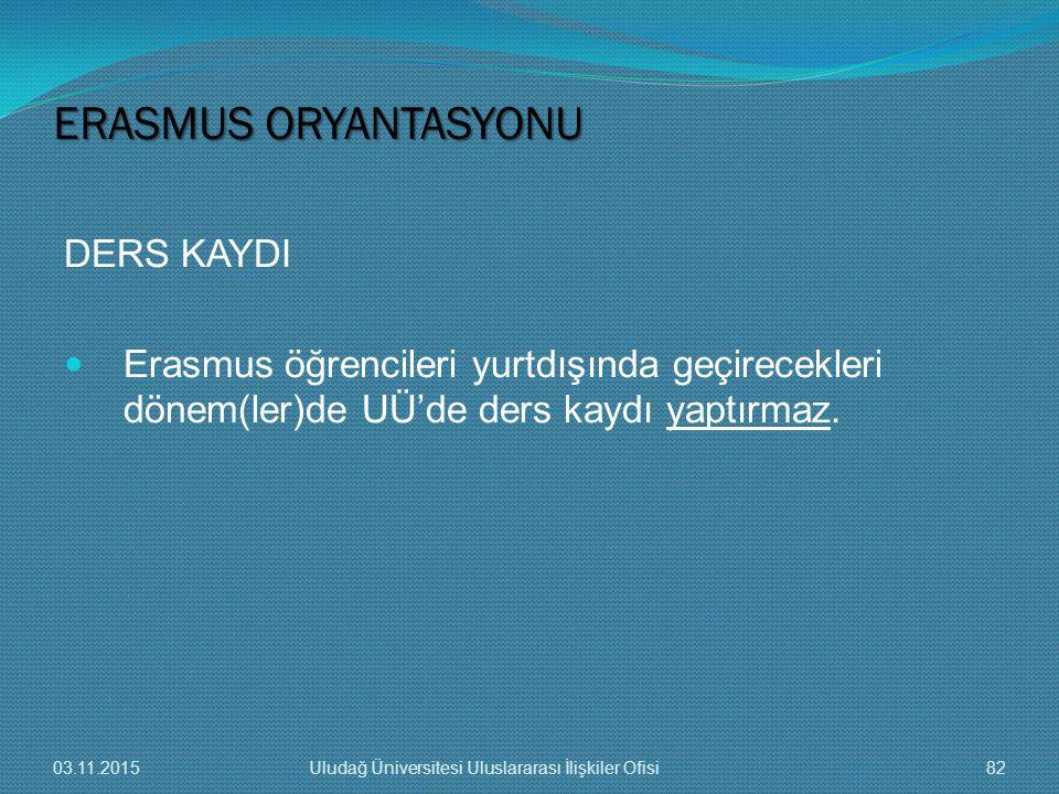DERS KAYDI Erasmus öğrencileri yurtdışında geçirecekleri dönem(ler)de UÜ'de ders kaydı yaptırmaz. ERASMUS ORYANTASYONU 03.11.201582Uludağ Üniversitesi