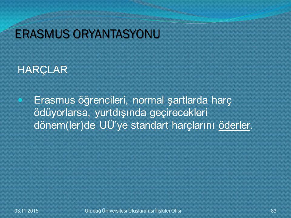 HARÇLAR Erasmus öğrencileri, normal şartlarda harç ödüyorlarsa, yurtdışında geçirecekleri dönem(ler)de UÜ'ye standart harçlarını öderler. ERASMUS ORYA