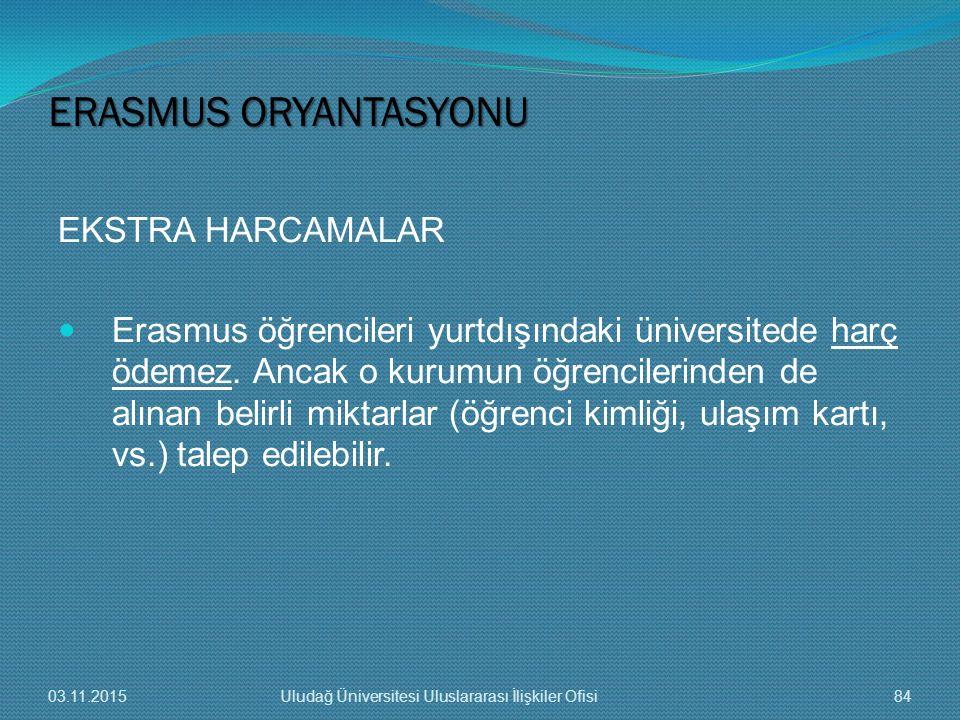EKSTRA HARCAMALAR Erasmus öğrencileri yurtdışındaki üniversitede harç ödemez. Ancak o kurumun öğrencilerinden de alınan belirli miktarlar (öğrenci kim