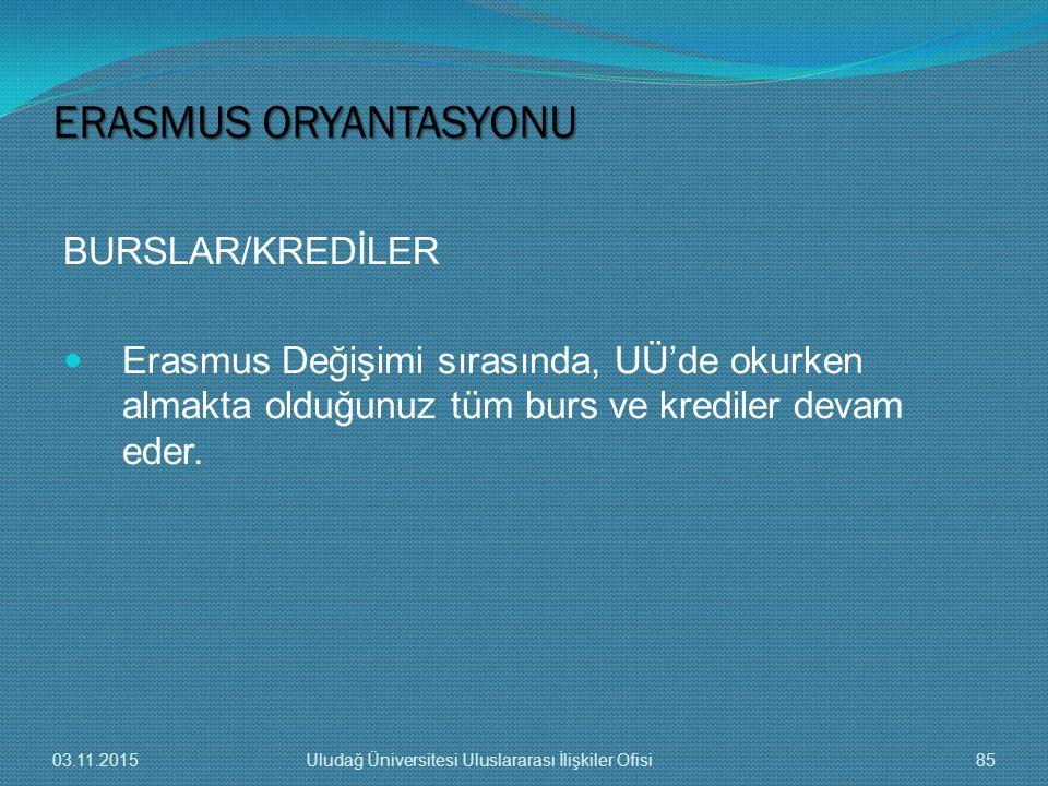BURSLAR/KREDİLER Erasmus Değişimi sırasında, UÜ'de okurken almakta olduğunuz tüm burs ve krediler devam eder. ERASMUS ORYANTASYONU 03.11.201585Uludağ