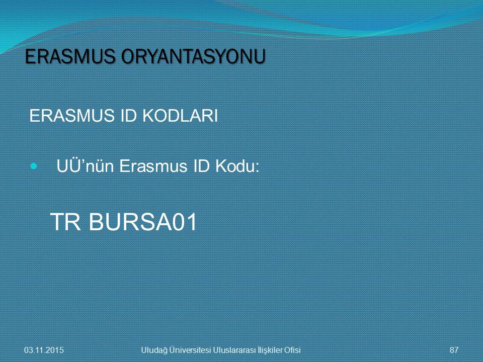 ERASMUS ID KODLARI UÜ'nün Erasmus ID Kodu: TR BURSA01 ERASMUS ORYANTASYONU 03.11.201587Uludağ Üniversitesi Uluslararası İlişkiler Ofisi