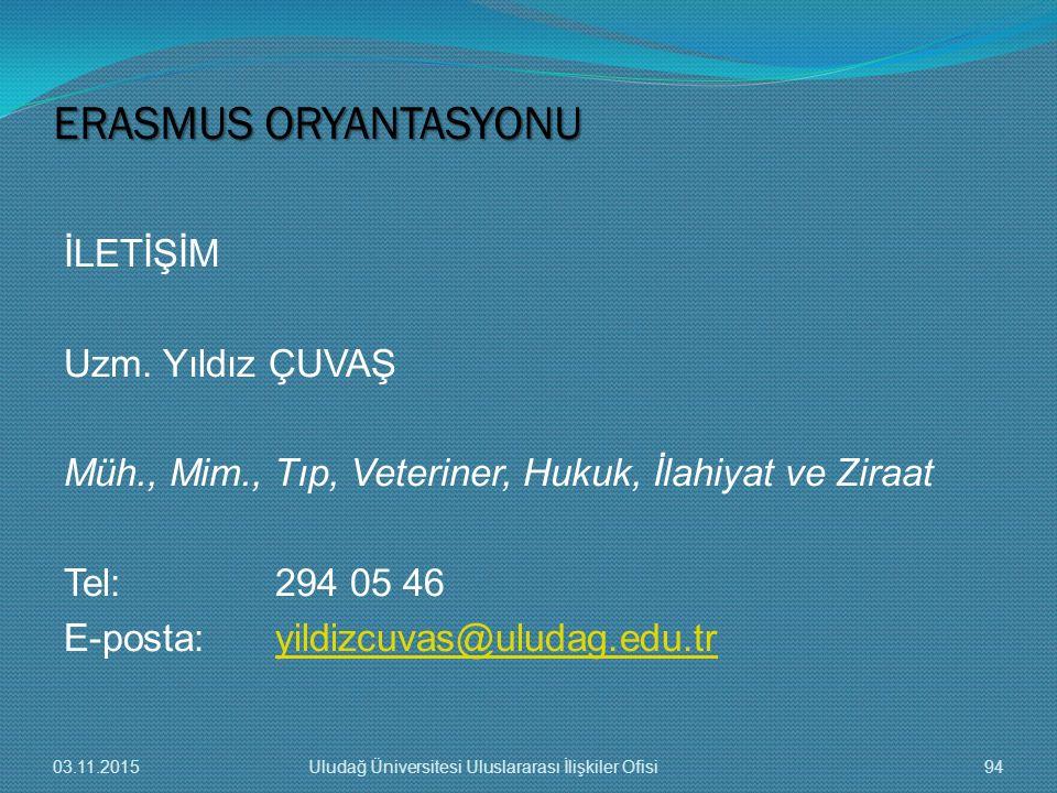 İLETİŞİM Uzm. Yıldız ÇUVAŞ Müh., Mim., Tıp, Veteriner, Hukuk, İlahiyat ve Ziraat Tel: 294 05 46 E-posta:yildizcuvas@uludag.edu.tryildizcuvas@uludag.ed
