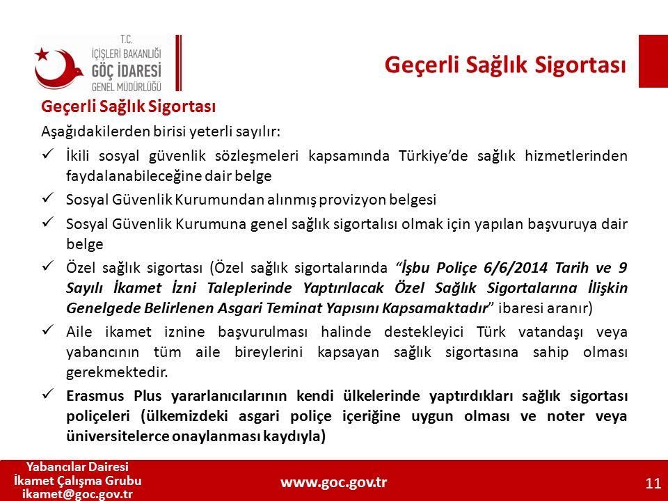 Geçerli Sağlık Sigortası Aşağıdakilerden birisi yeterli sayılır: İkili sosyal güvenlik sözleşmeleri kapsamında Türkiye'de sağlık hizmetlerinden faydal