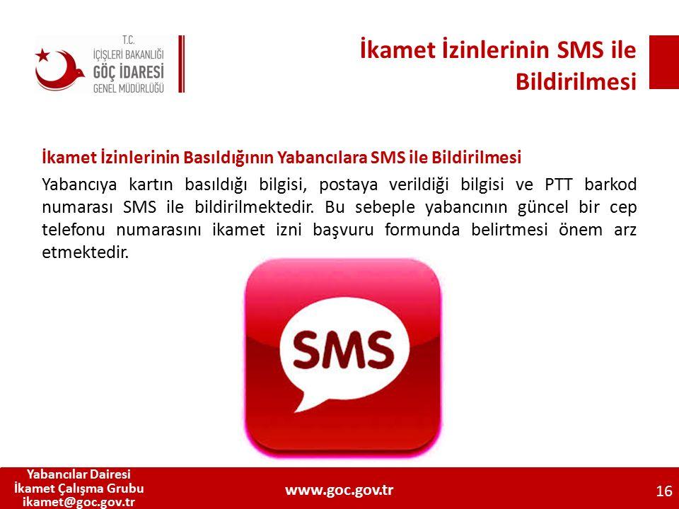 İkamet İzinlerinin SMS ile Bildirilmesi İkamet İzinlerinin Basıldığının Yabancılara SMS ile Bildirilmesi Yabancıya kartın basıldığı bilgisi, postaya v