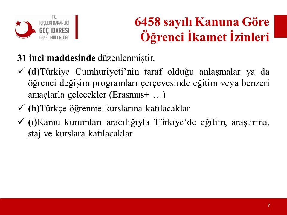6458 sayılı Kanuna Göre Öğrenci İkamet İzinleri 31 inci maddesinde düzenlenmiştir. (d)Türkiye Cumhuriyeti'nin taraf olduğu anlaşmalar ya da öğrenci de