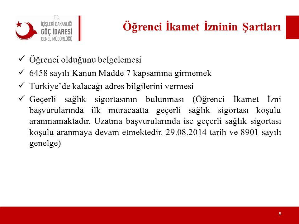 Öğrenci İkamet İzninin Şartları Öğrenci olduğunu belgelemesi 6458 sayılı Kanun Madde 7 kapsamına girmemek Türkiye'de kalacağı adres bilgilerini vermes