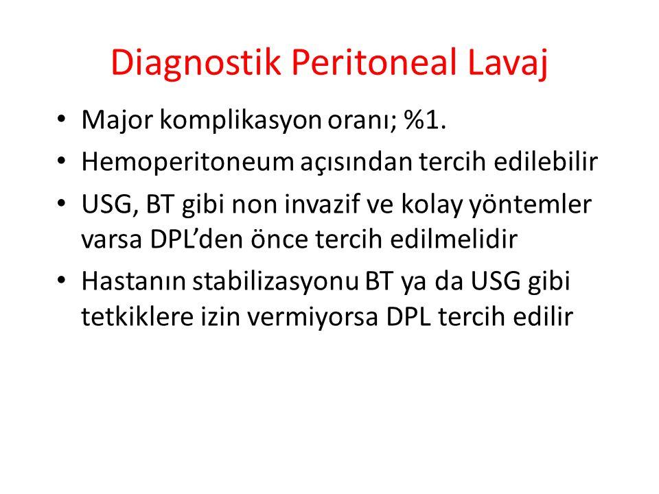 Diagnostik Peritoneal Lavaj Major komplikasyon oranı; %1. Hemoperitoneum açısından tercih edilebilir USG, BT gibi non invazif ve kolay yöntemler varsa