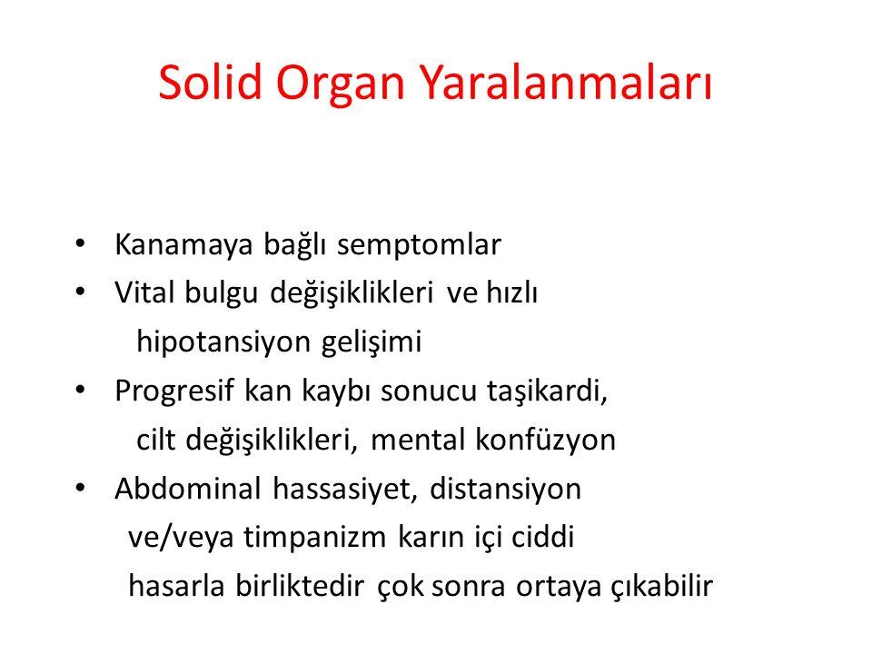 Solid Organ Yaralanmaları Kanamaya bağlı semptomlar Vital bulgu değişiklikleri ve hızlı hipotansiyon gelişimi Progresif kan kaybı sonucu taşikardi, ci