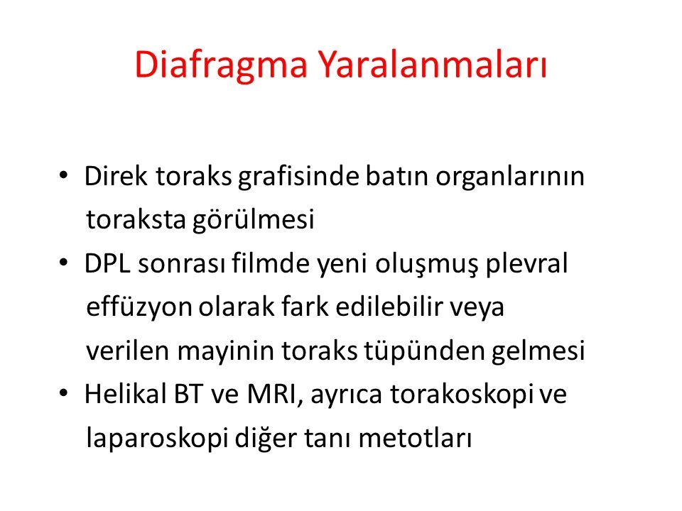 Diafragma Yaralanmaları Direk toraks grafisinde batın organlarının toraksta görülmesi DPL sonrası filmde yeni oluşmuş plevral effüzyon olarak fark edi