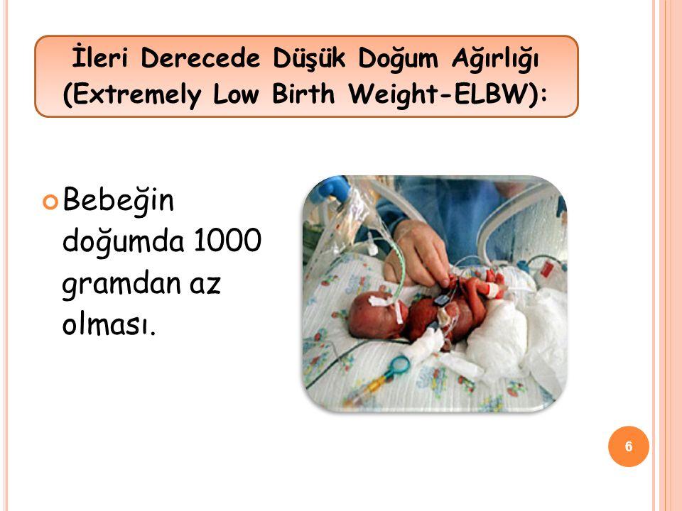 Bebeğin doğumda 1000 gramdan az olması. İleri Derecede Düşük Doğum Ağırlığı (Extremely Low Birth Weight-ELBW): 6