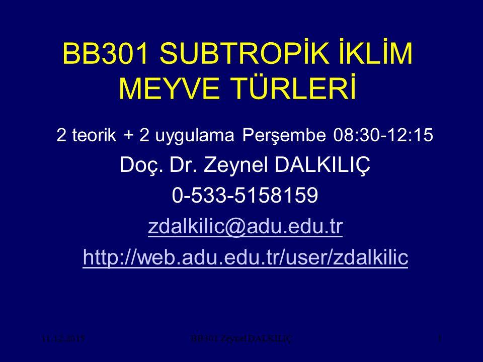 11.12.20151 BB301 SUBTROPİK İKLİM MEYVE TÜRLERİ 2 teorik + 2 uygulama Perşembe 08:30-12:15 Doç. Dr. Zeynel DALKILIÇ 0-533-5158159 zdalkilic@adu.edu.tr