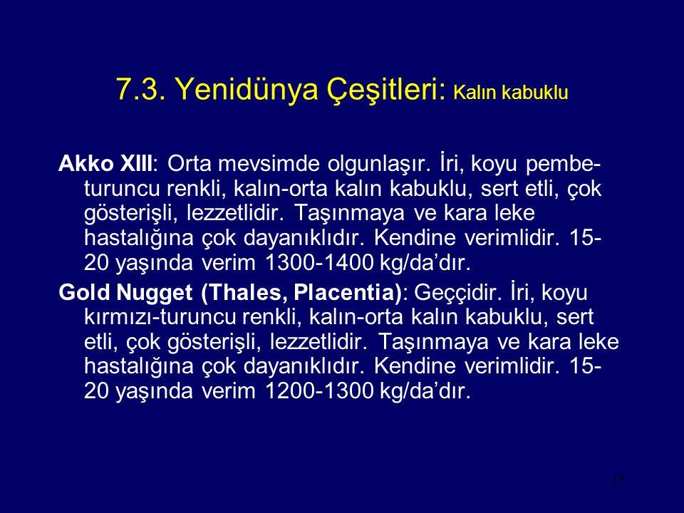 15 7.3. Yenidünya Çeşitleri: Kalın kabuklu Akko XIII: Orta mevsimde olgunlaşır. İri, koyu pembe- turuncu renkli, kalın-orta kalın kabuklu, sert etli,