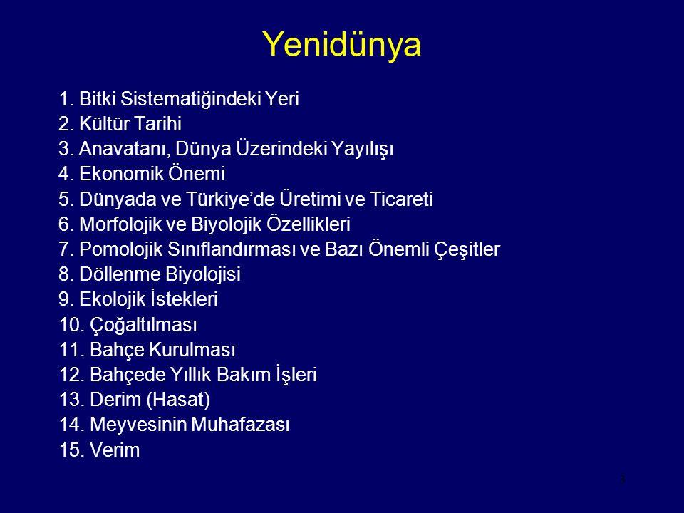 3 Yenidünya 1. Bitki Sistematiğindeki Yeri 2. Kültür Tarihi 3. Anavatanı, Dünya Üzerindeki Yayılışı 4. Ekonomik Önemi 5. Dünyada ve Türkiye'de Üretimi