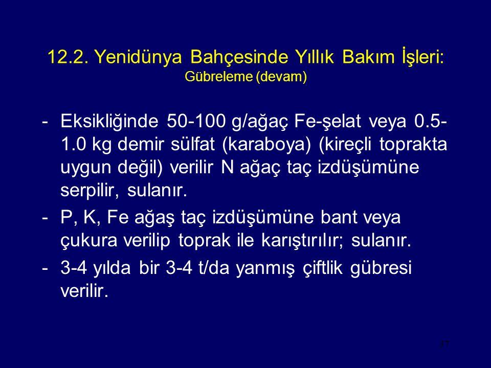 37 12.2. Yenidünya Bahçesinde Yıllık Bakım İşleri: Gübreleme (devam) -Eksikliğinde 50-100 g/ağaç Fe-şelat veya 0.5- 1.0 kg demir sülfat (karaboya) (ki