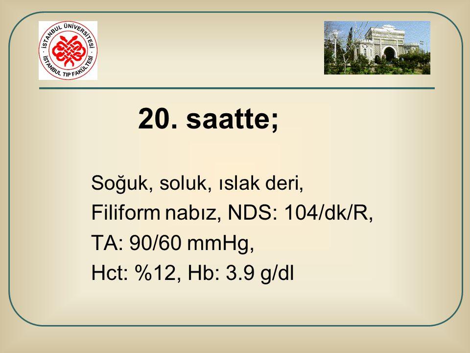 20. saatte; Soğuk, soluk, ıslak deri, Filiform nabız, NDS: 104/dk/R, TA: 90/60 mmHg, Hct: %12, Hb: 3.9 g/dl