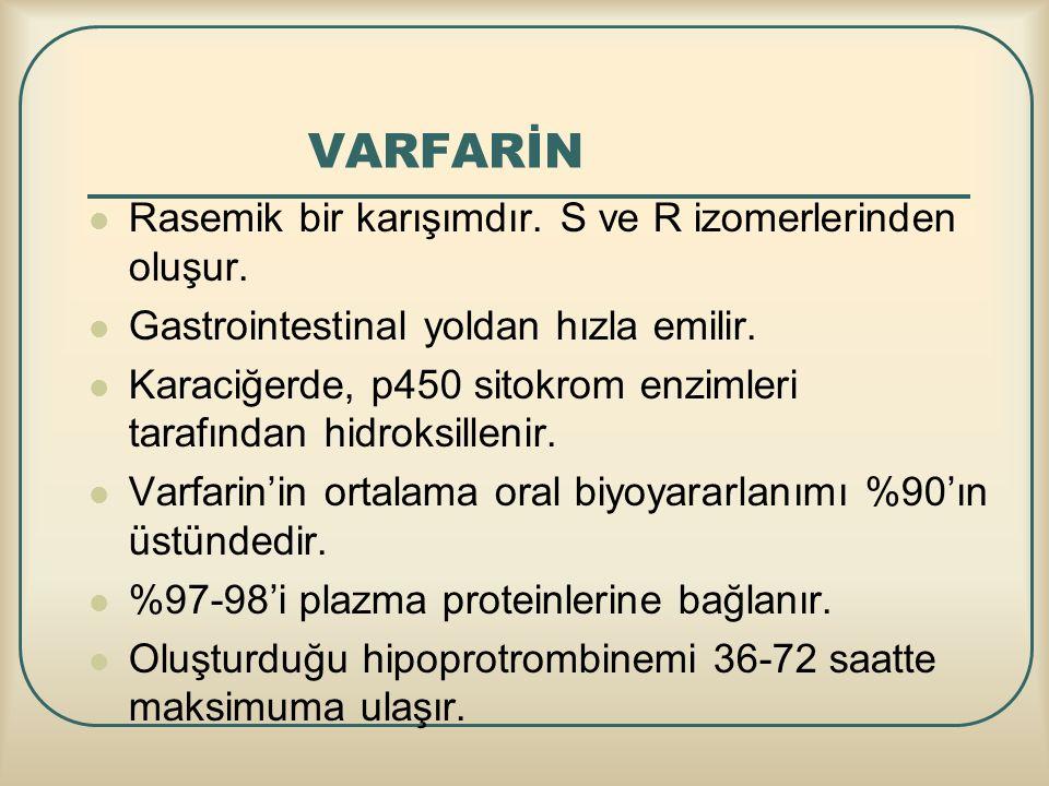 VARFARİN Rasemik bir karışımdır. S ve R izomerlerinden oluşur. Gastrointestinal yoldan hızla emilir. Karaciğerde, p450 sitokrom enzimleri tarafından h
