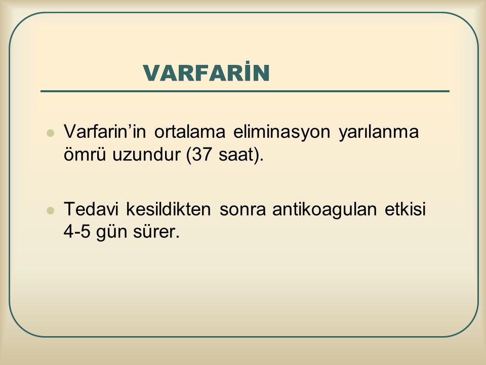 VARFARİN Varfarin'in ortalama eliminasyon yarılanma ömrü uzundur (37 saat). Tedavi kesildikten sonra antikoagulan etkisi 4-5 gün sürer.