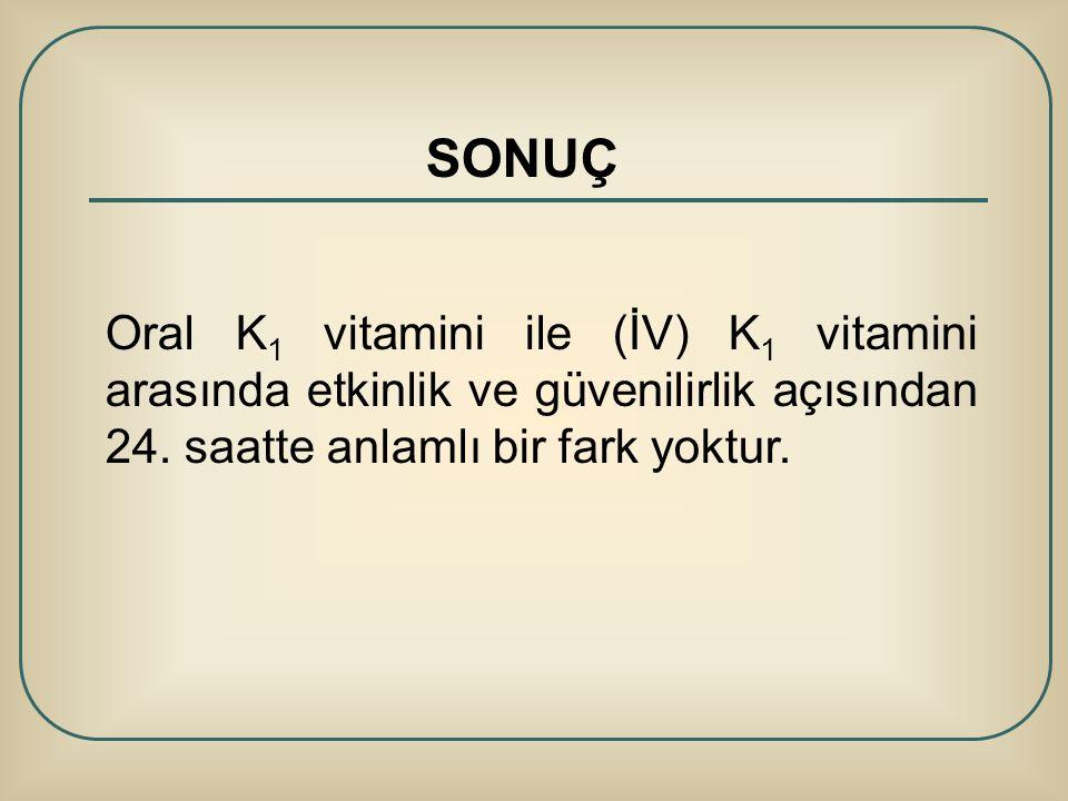 SONUÇ Oral K 1 vitamini ile (İV) K 1 vitamini arasında etkinlik ve güvenilirlik açısından 24. saatte anlamlı bir fark yoktur.