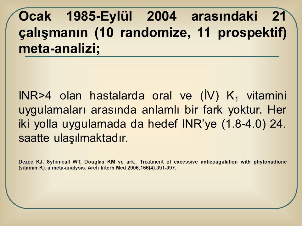 Ocak 1985-Eylül 2004 arasındaki 21 çalışmanın (10 randomize, 11 prospektif) meta-analizi; INR>4 olan hastalarda oral ve (İV) K 1 vitamini uygulamaları