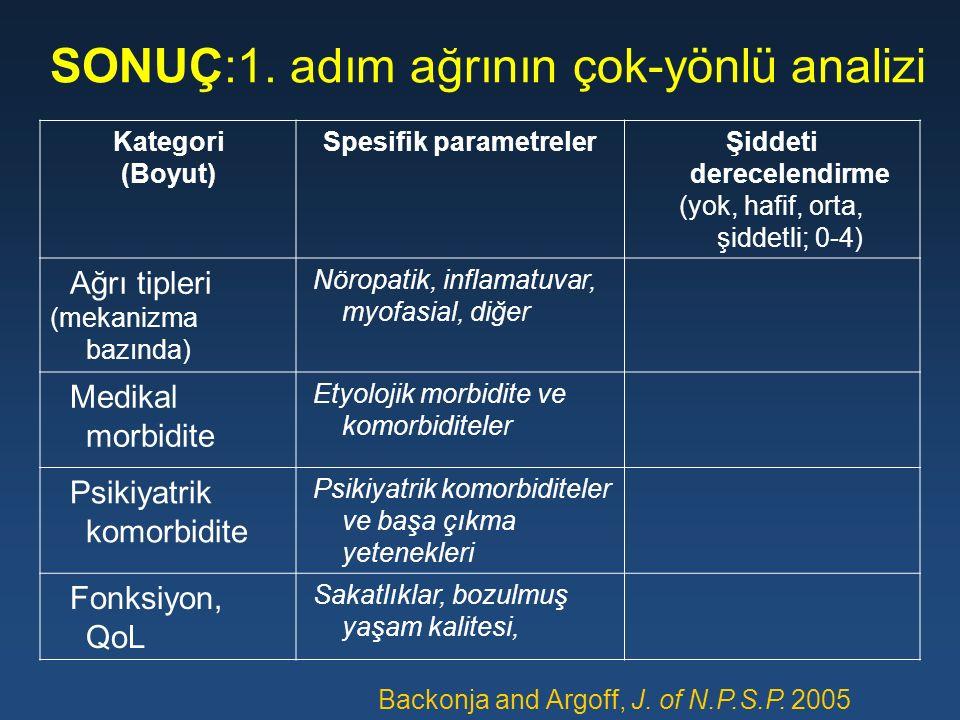 SONUÇ:1. adım ağrının çok-yönlü analizi Kategori (Boyut) Spesifik parametrelerŞiddeti derecelendirme (yok, hafif, orta, şiddetli; 0-4) Ağrı tipleri (m