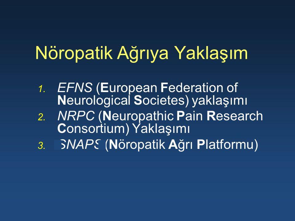 Nöropatik Ağrıya Yaklaşım 1. EFNS (European Federation of Neurological Societes) yaklaşımı 2. NRPC (Neuropathic Pain Research Consortium) Yaklaşımı 3.
