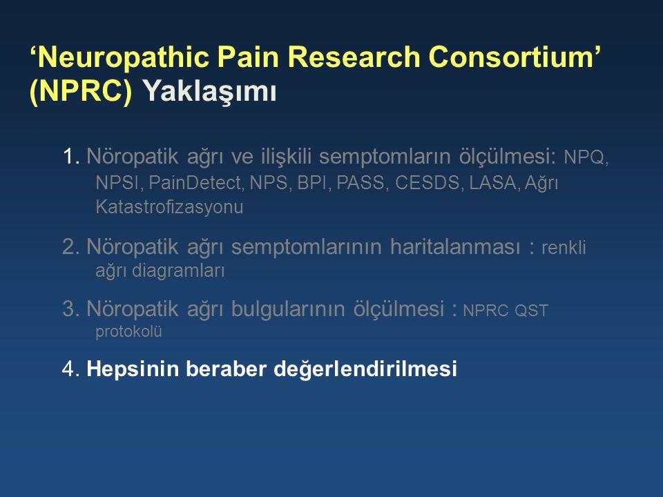 1. Nöropatik ağrı ve ilişkili semptomların ölçülmesi: NPQ, NPSI, PainDetect, NPS, BPI, PASS, CESDS, LASA, Ağrı Katastrofizasyonu 2. Nöropatik ağrı sem