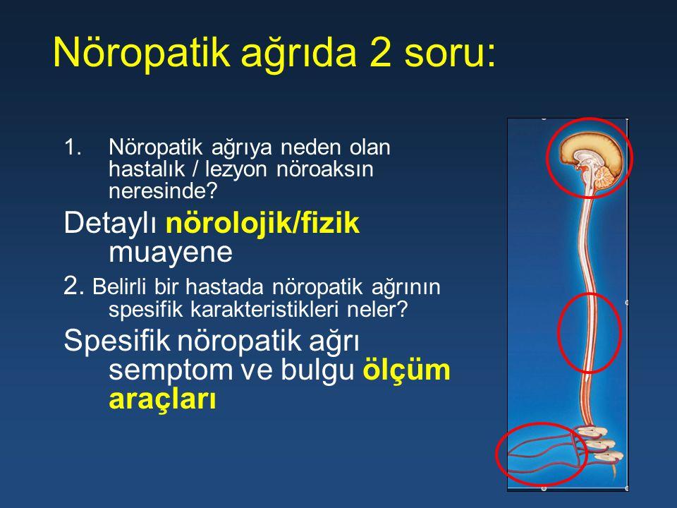 Nöropatik ağrıda 2 soru: 1.Nöropatik ağrıya neden olan hastalık / lezyon nöroaksın neresinde? Detaylı nörolojik/fizik muayene 2. Belirli bir hastada n