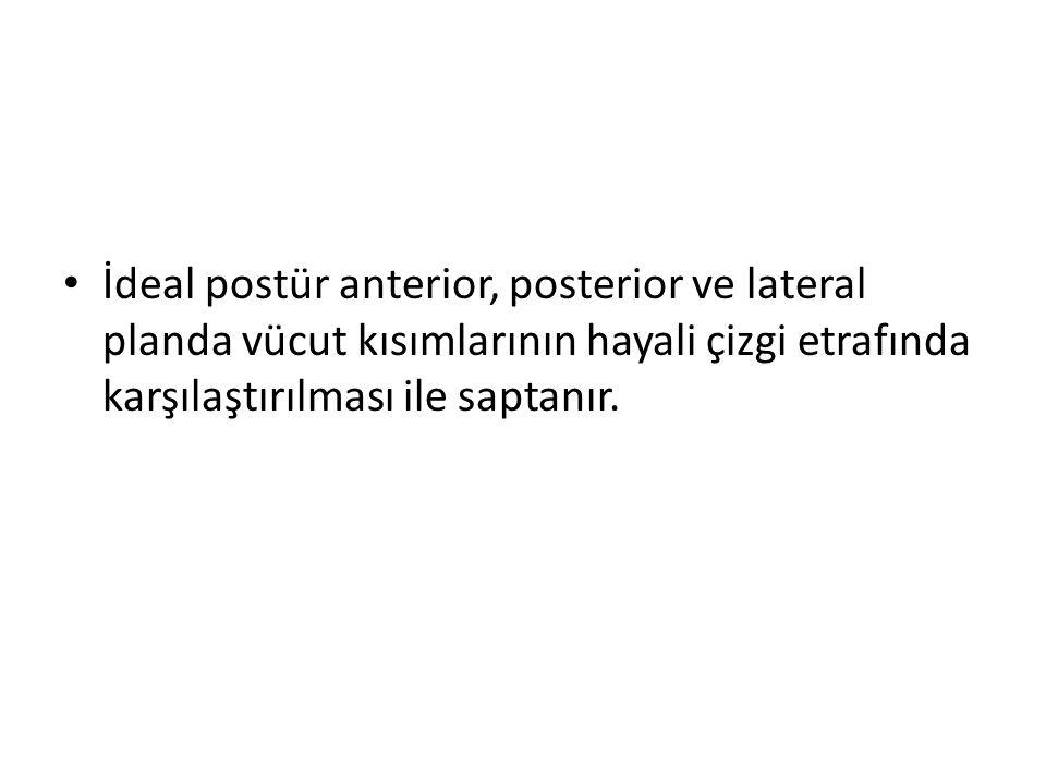 İdeal postür anterior, posterior ve lateral planda vücut kısımlarının hayali çizgi etrafında karşılaştırılması ile saptanır.