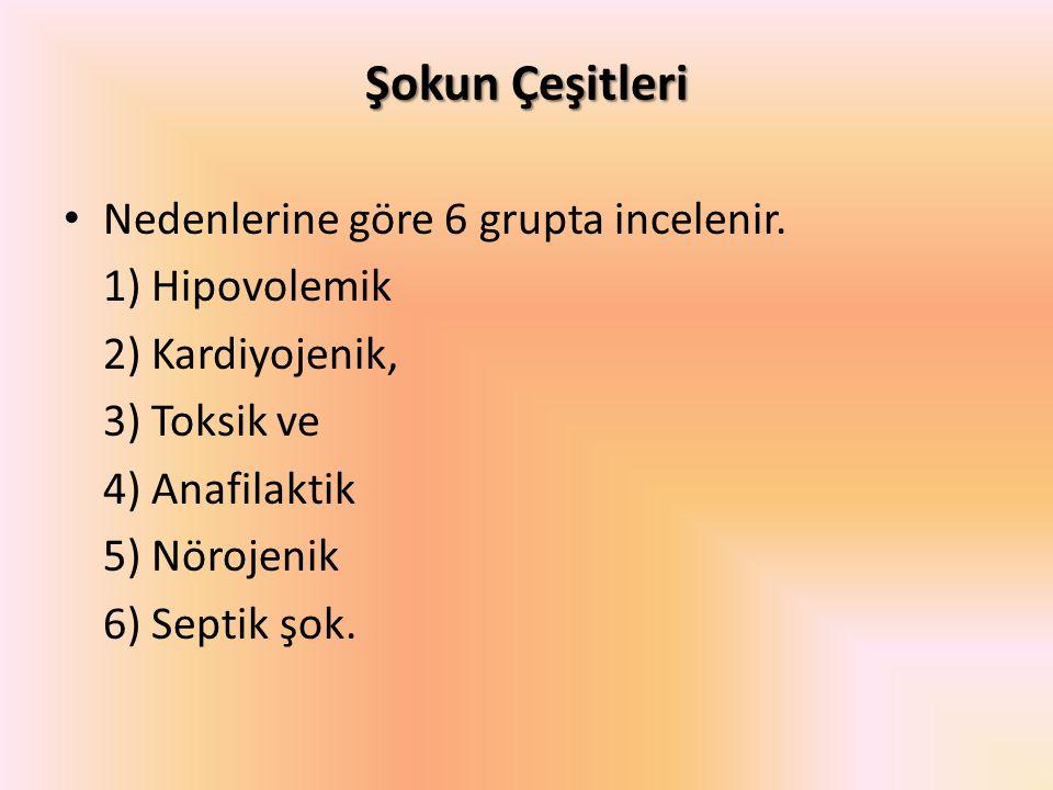 Şokun Çeşitleri Nedenlerine göre 6 grupta incelenir. 1) Hipovolemik 2) Kardiyojenik, 3) Toksik ve 4) Anafilaktik 5) Nörojenik 6) Septik şok.