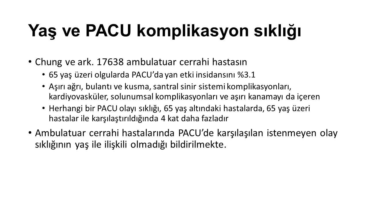 Yaş ve PACU komplikasyon sıklığı Chung ve ark.