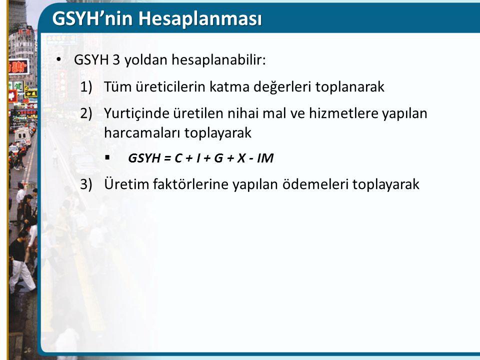 GSYH'nin Hesaplanması GSYH 3 yoldan hesaplanabilir: 1)Tüm üreticilerin katma değerleri toplanarak 2)Yurtiçinde üretilen nihai mal ve hizmetlere yapılan harcamaları toplayarak  GSYH = C + I + G + X - IM 3)Üretim faktörlerine yapılan ödemeleri toplayarak