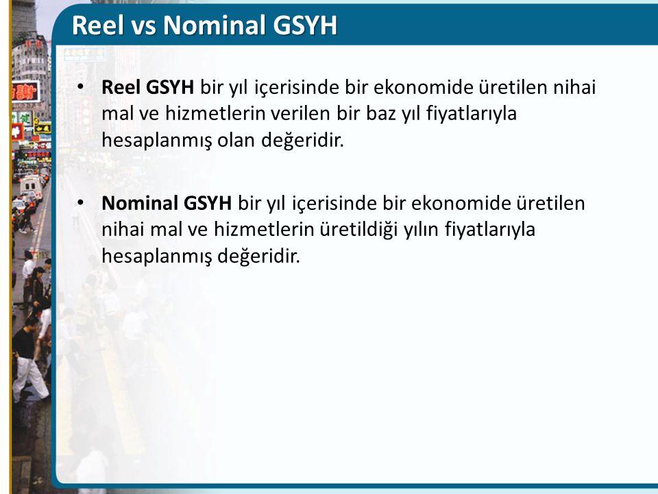 Reel vs Nominal GSYH Reel GSYH bir yıl içerisinde bir ekonomide üretilen nihai mal ve hizmetlerin verilen bir baz yıl fiyatlarıyla hesaplanmış olan değeridir.
