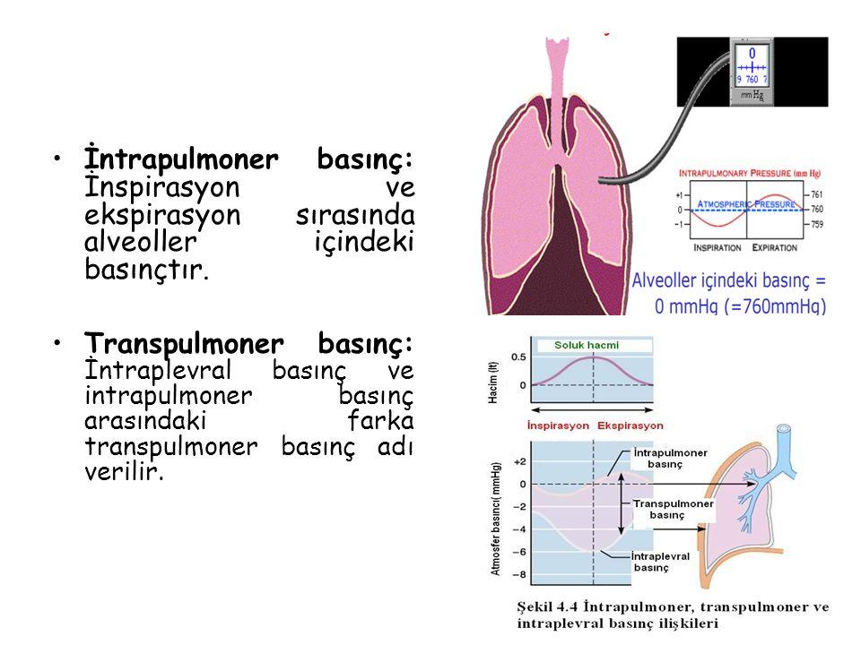 İntrapulmoner basınç: İnspirasyon ve ekspirasyon sırasında alveoller içindeki basınçtır. Transpulmoner basınç: İntraplevral basınç ve intrapulmoner ba