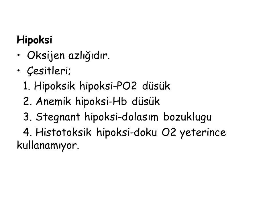 Hipoksi Oksijen azlığıdır. Çesitleri; 1. Hipoksik hipoksi-PO2 düsük 2. Anemik hipoksi-Hb düsük 3. Stegnant hipoksi-dolasım bozuklugu 4. Histotoksik hi