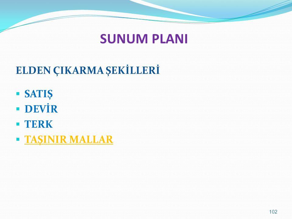 SUNUM PLANI ELDEN ÇIKARMA ŞEKİLLERİ  SATIŞ  DEVİR  TERK  TAŞINIR MALLAR 102