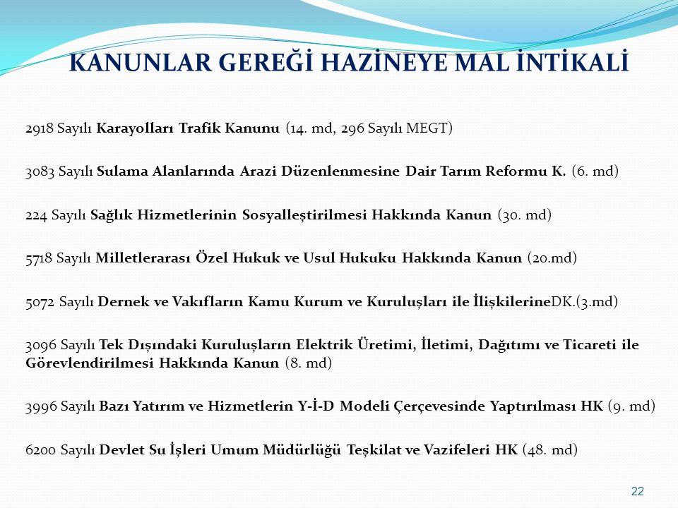 KANUNLAR GEREĞİ HAZİNEYE MAL İNTİKALİ 2918 Sayılı Karayolları Trafik Kanunu (14. md, 296 Sayılı MEGT) 3083 Sayılı Sulama Alanlarında Arazi Düzenlenmes
