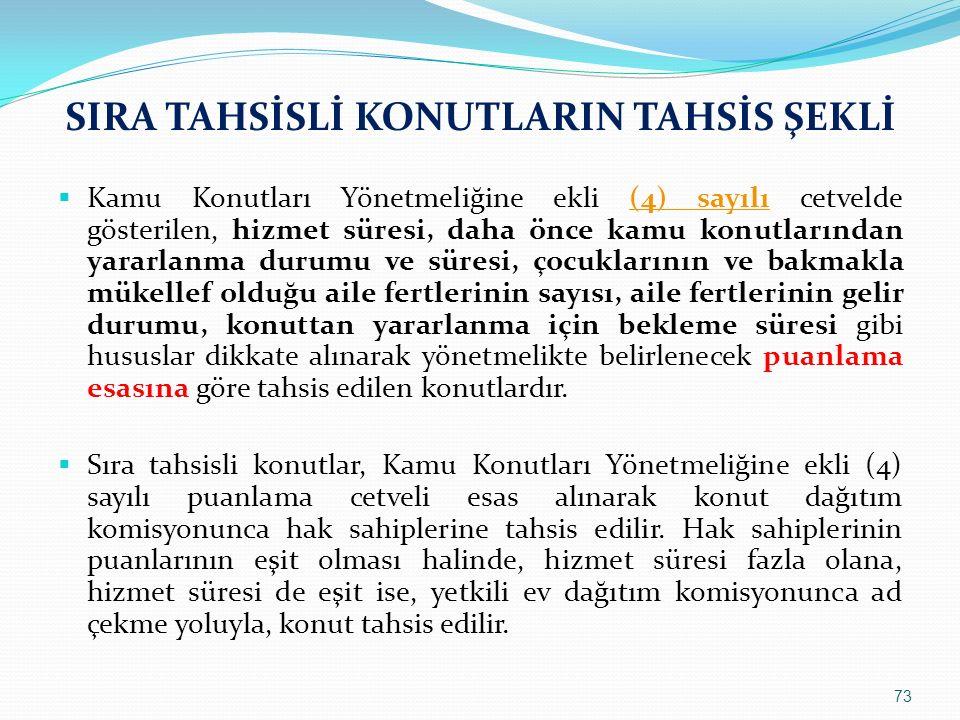 SIRA TAHSİSLİ KONUTLARIN TAHSİS ŞEKLİ  Kamu Konutları Yönetmeliğine ekli (4) sayılı cetvelde gösterilen, hizmet süresi, daha önce kamu konutlarından
