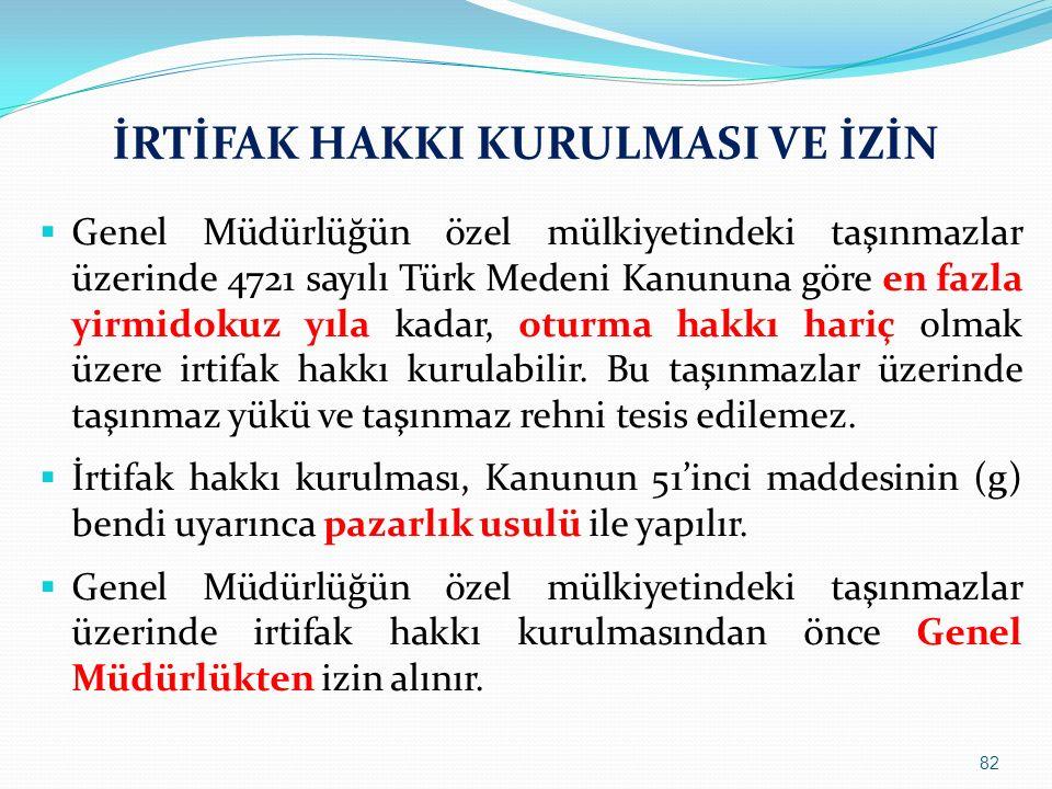 İRTİFAK HAKKI KURULMASI VE İZİN  Genel Müdürlüğün özel mülkiyetindeki taşınmazlar üzerinde 4721 sayılı Türk Medeni Kanununa göre en fazla yirmidokuz