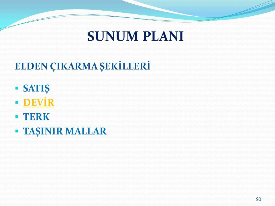 SUNUM PLANI ELDEN ÇIKARMA ŞEKİLLERİ  SATIŞ  DEVİR  TERK  TAŞINIR MALLAR 93