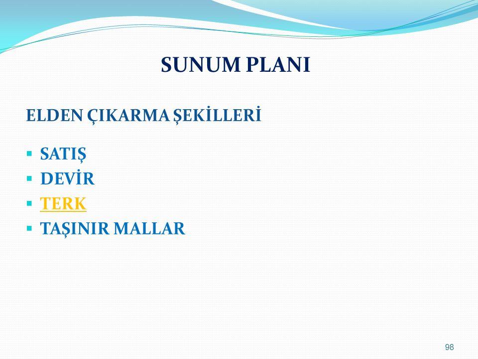 SUNUM PLANI ELDEN ÇIKARMA ŞEKİLLERİ  SATIŞ  DEVİR  TERK  TAŞINIR MALLAR 98